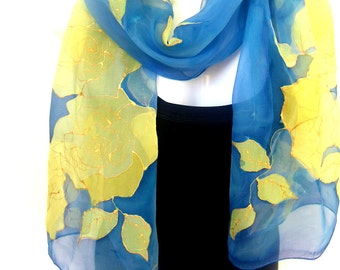 Hand Painted Silk Scarf, Sky Blue Golden Yellow, Roses Silk Scarf, Floral, Silk Chiffon Scarf, Gift For Her