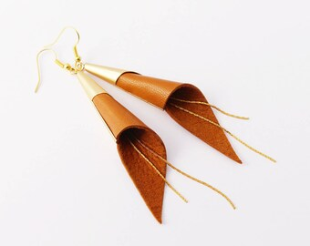 Cone genuine leather earrings - gold plated jewelry - Brown and gold earrings - modern earrings - wedding jewellery- elegant earrings -