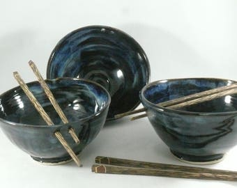 Ceramic Noodle Bowl, Rice Bowl with Chopsticks, chopstick bowls, Pho Bowl, Asian Decor, Thai Food Dish, Ramen Bowl, Gift for Him