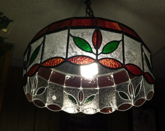 1970s Stained Glass Hanging Light