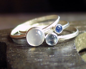 Sterling Silver Stacking Rings with moonstone, sapphire and swiss blue topaz  September - Sky Blue Dreaming
