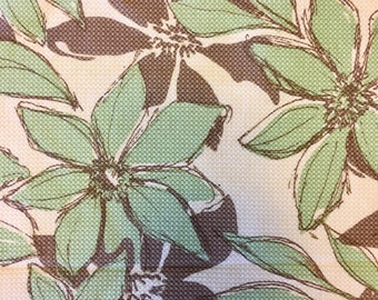 Choco minty green brown and cream stretch cotton pique poinsettia yardage remnant 28 by 48 inches