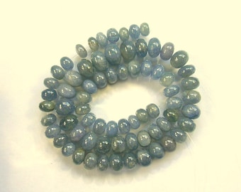 "Blue sapphire smooth rondelle beads AA 6-9mm 14"" strand"