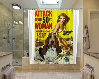 Basset Hound Art Shower Curtain, Dog Shower Curtains, Bathroom Decor - Attack of the 50 Foot Woman Movie Poster