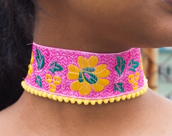 Floral Pink and Yellow Choker