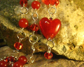 Red Heart Pendant Necklace Long Necklace Handmade Jewelry Gift Ideas for Her from The Hidden Meadow