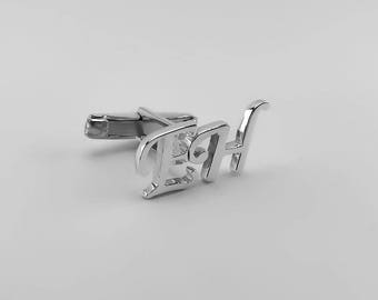 Personalized Cufflinks - Father's day gift - Initial Cufflink - Groom Wedding Cufflinks -Letters Cufflinks - Men Cufflinks