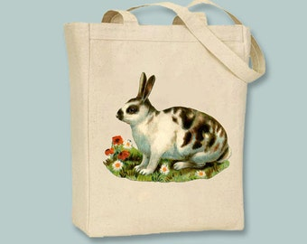 Vintage Spotted Bunny Rabbit Natural or Black Canvas Tote -- Selection of sizes available