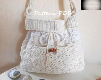 Crochet PATTERN - Beach Cream crochet handbag by Lenka, Shoulder bag pattern,  Beach handbag, Summer bag, Make the gift for her
