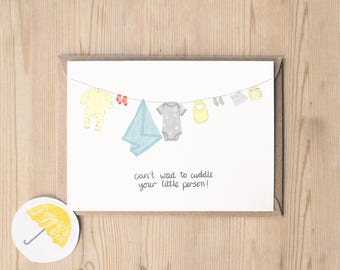 New Baby Card | Baby Shower Card |Congratulations Card | Baby Girl Card | Baby Boy Card | Little Person Card | Cuddle Baby Card | Funny Baby