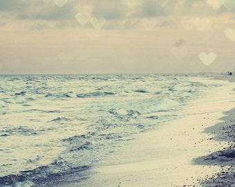 beach photography, heart bokeh, ocean photo, beach home decor, pink decor, blue decor, sunset, Love, Beach