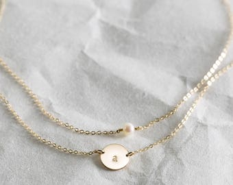 Personalized Jewelry Gift for Her, 2 Dainty Necklaces: Pearl/Birthstone Necklace & Custom Initial Tag • Gifts for Sisters, Girlfriends LS972