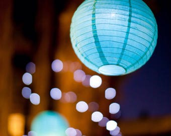 9pcs Aqua Blue Paper Lanterns and 9 LED Bulbs for Wedding Engagement Anniversary 21st Birthday Boy Party Baby Shower Venue Decorations