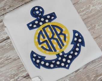 Navy Blue & Yellow Monogrammed Anchor Embroidered Shirt or Bodysuit