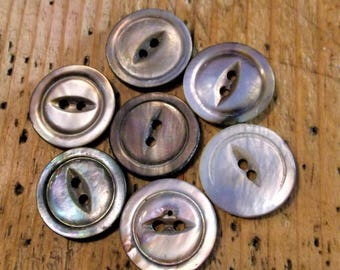 Vintage Mother of Pearl Buttons, Set of 7