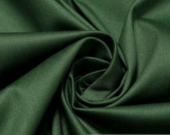 Fabric cotton elastane satin fir-tree green noble