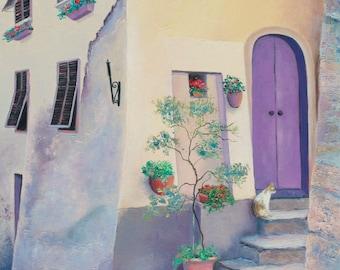 Tuscany painting, canvas art, Tuscan Wall Art, Italy street scene, Tuscan Villa, old architecture, Etsy Art, by Jan Matson