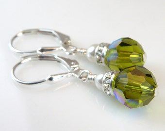 Olive Crystal Earrings, Green Round Drop, Sterling Silver, Pearl Accent, Dangle Autumn Jewelry, Fall Wedding Bridesmaid Gift, Ready To Ship