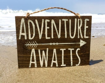 "Adventure Awaits Wood Sign / Hippie Sign / Bohemian Wall Decor / Ski Cabin Decor / The Mountains are Calling Sign 8""x10"" - Ready to Ship!"