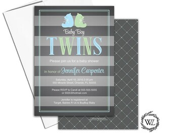 Twin boy baby shower invitations, bear baby shower invite twins green blue twin baby shower invitation boys, printable or printed - WLP00769
