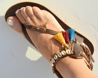 Sandals, Leather Sandals, Boho Sandals, Hippie Sandals, Gladiator Sandals, Greek Sandals, Beaded Sandals, Bohemian Sandals, Tassel Sandals