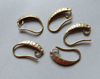 50pcs Raw Brass Ear Wire Earring,Earring Hooks, Findings 16mm  - F334