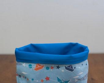Fabric storage basket, reversable fabric bin, boys room storage bin, nursery basket