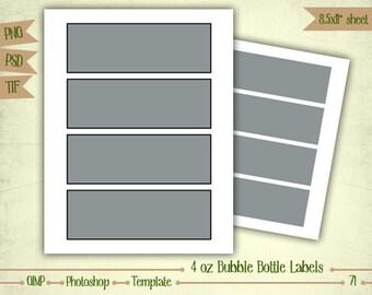 4 oz Bubble Bottle Labels - Digital Collage Sheet Layered Template - (T071)