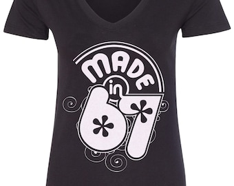 Made in 1967 Women's V-Neck Fitted T-Shirt 50th Birthday Party Born In '67 - TA_00398