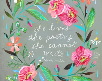 Poetry | Watercolor and Acrylic painting | Floral Border | Oscar Wilde Quote | Katie Daisy | 8x10 | 11x14