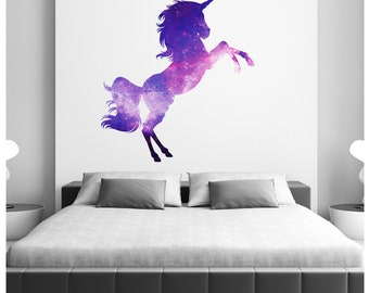Unicorn Space Galaxy Celestial  Wall Stickers  Wall Art Home Bedroom Purple