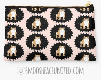 Adorable Bulldog bag - zipper pouch, sleeve, pocket, clutch, organizer - English Bulldog fabric - YOU CHOOSE design! Perfect Bully gift!