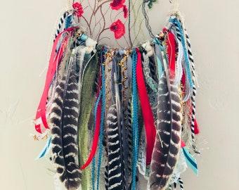 Floral Wild Turkey Feather Dream Catcher