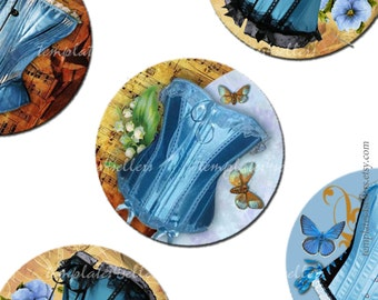 Digital Collage Sheet Vintage Blue Woman Corsets 1 inch round images  Original  Printable 4x6 inch sheet Scrapbooking  129