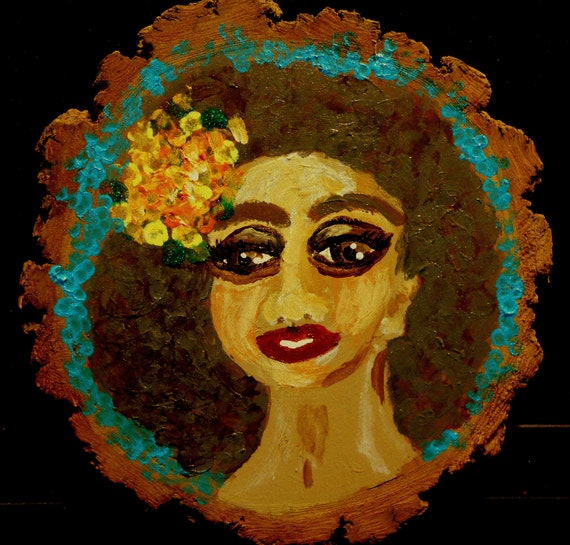 Original Acrylic Painting on Wood Slice, ELSA, Outsider Folk Art African American woman with flowers in her hair Art by Stacey Torres
