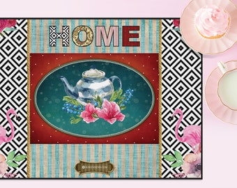 wonderland tea party floral vintage Heat resistant printed placemat runner table top tableware dining Serving table setting - home