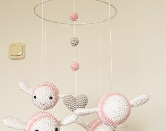 Pink Girl Nursery Mobile, Crochet Bumble Bee Pink Baby Mobile, Girl Nursery Decor, Amigurumi Ceiling Mobile