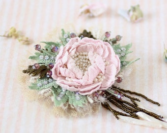 Vintage style crochet brooch, pink peony pin, embroidered broach, crochet art jewelry, freshwater pearls.