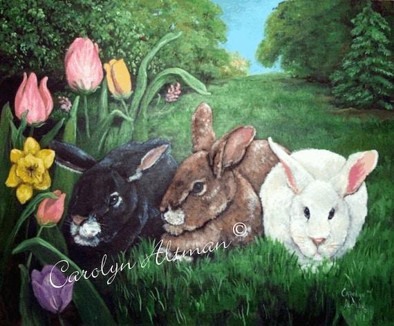 Three Rabbits in Tulip Garden Canvas Art Print