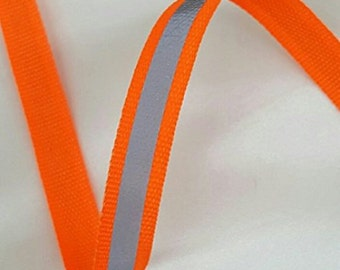 "Neon Green or Neon Orange Reflective Glo Grosgrain Ribbon - 3/8"" Silver Reflective Stripe -100% Polyester / Sports, Selling Per 6 Yards"