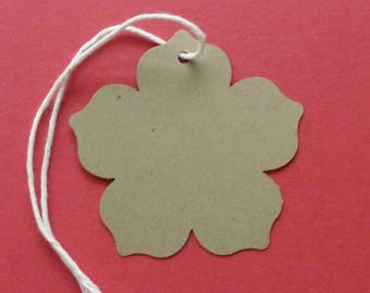 50 large flower tags kraft brown hang tags gift tags price tags wedding guest book rustic tags shop supplies product tags flower petals