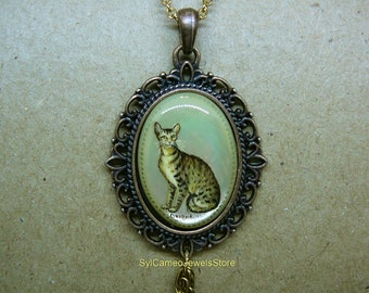 Hand Painted Orient Cat Cameo Pendant Dangle Two Clear Crystal Charms Necklace Original Art Jewelry SylCameoJewelsStore