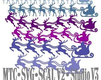 SVG Cut File Santa Sleigh with Reindeer Design #06 Bundle of 18 Borders Cut File MTC SCAL Cricut Silhouette Cutting File