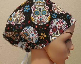 Women's Surgical Cap, Scrub Hat, Chemo Cap, Floral Sugar Skulls