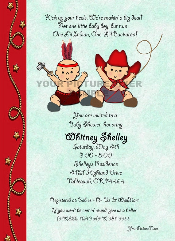 Baby Shower Invitation TWINS Cowboy and Indian Birth