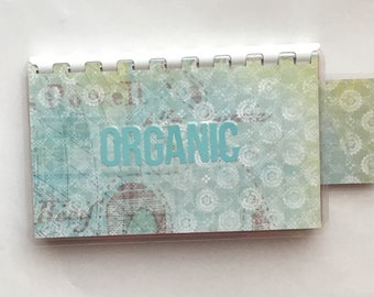 Handmade Baby blue 'Organic' Blank Recipe book for Personal Recipes