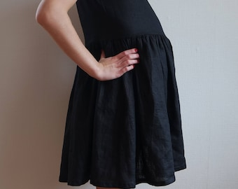 Linen dress, Linen maternity dress, Black linen dress, Linen womens dress, Maternity dress, Small size dress, Linen clothing, Black dress