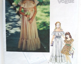 Vogue Very Easy Little # 358 vintage sewing pattern girls party flower girl bridesmaid dress. Size 12 ruffles Easter 80s