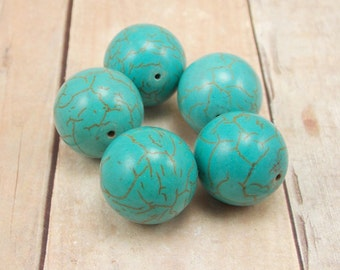 Turquoise Howlite Beads - Aqua Blue - 16mm - 5 pieces