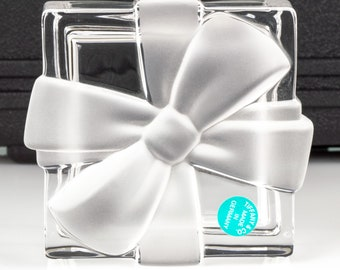 """Tiffany Crystal Clear Gift Box with Frosted Bow // Tiffany & Co. // Signed Crystal Trinket Jewelry Box // 3"""" Square"""